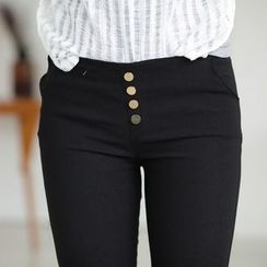 Coshield - Buttoned Slim-Fit Pants