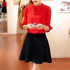 Lavogo - Inset Chiffon Blouse A-Line Dress