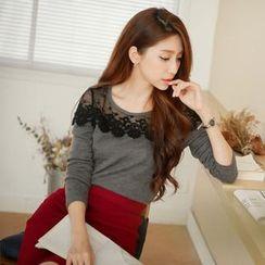 Tokyo Fashion - Long-Sleeve Lace-Panel Top
