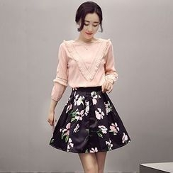 Romantica - Set: Fringed Blouse + Floral Skirt