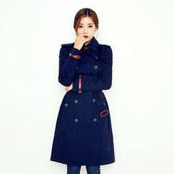 chuu - Double-Breasted Trench Coat With Belt
