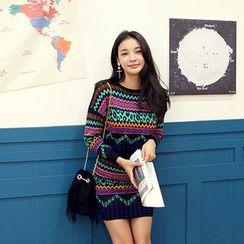 DABAGIRL - Set: Patterned Knit Top + Mini Pencil Skirt