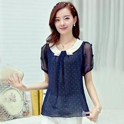 Mooiee - Contrast-Collar Dotted Chiffon Blouse