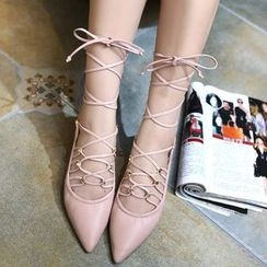 Monde - Lace Up Pointed Flats