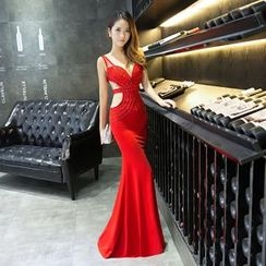 Posh Bride - Sleeveless Cut Out Mermaid Evening Gown