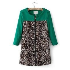 JVL - Leopard-Print Panel Zip Trench Coat