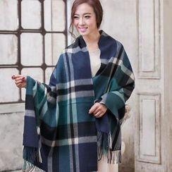 羚羊早安 - 流蘇格紋圍巾
