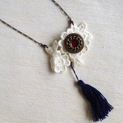 MyLittleThing - Vintage Lace 2-way Necklace/Brooch (Navy)