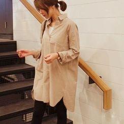 mimi&didi - Half-Placket Pocket-Front Cotton Dress