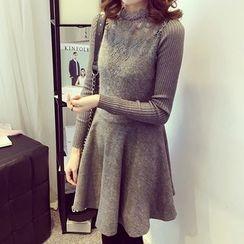 Little V - Lace Panel Long Sleeve Knit Dress