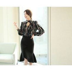 Marlangrouge - Cutout-Front Patterned Blouse