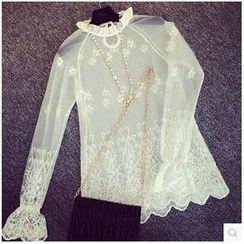 Dora - Frilled Lace / Mesh Blouse