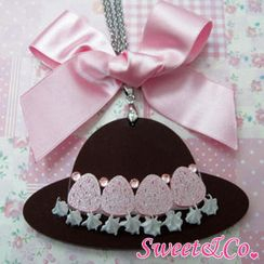 Sweet & Co. - Sweet XL Pink Ribbon Swarovski Crystal Strawberry Choco Hat Necklace
