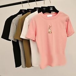 MISS LUCY - Short-Sleeve Rabbit Embroidered T-Shirt