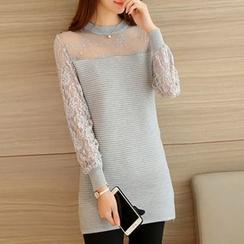 Ageha - Lace Long Sleeve Knit Dress