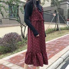 Cloud Nine - Frill Trim V-neck Sleeveless Dress