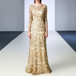 AIXI - Embroidered 3/4-Sleeve Sheath Evening Gown