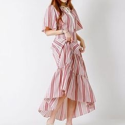 FASHION DIVA - Tie-Detail Tiered Patterned Chiffon Maxi Dress