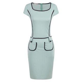 LIVA GIRL - Cap-Sleeve Color Block Sheath Dress
