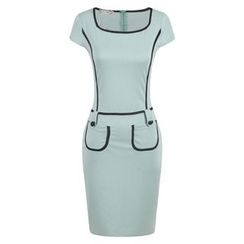 LIVA GIRL - Cap-Sleeve Color Block Sheath Dress