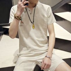 ZZP HOMME - Set: Plain Short-Sleeve T-Shirt + Shorts
