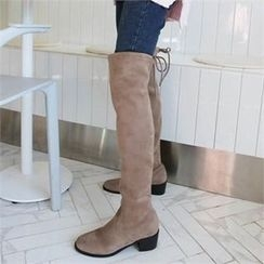 QNIGIRLS - Faux-Suede Knee-High Boots