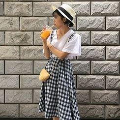 Dute - Plaid A-Line Jumper Skirt