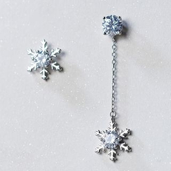 A'ROCH - Rhinestone Snowflake Non-Matching Earrings