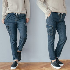 DANGOON - Drawstring-Waist Cargo-Pocket Jeans