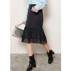 J-ANN - Frill Mesh-Hem Long Skirt