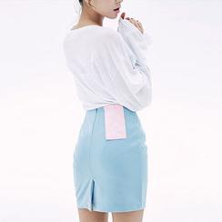 chuu - Colored Mini Pencil Skirt