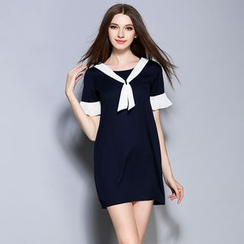 Cherry Dress - Panel Sailor Collar Short-Sleeve Dress