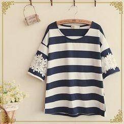 Fairyland - Lace-Trim Striped T-Shirt