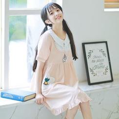 Moricode - Short-Sleeve Tie Neck Dress