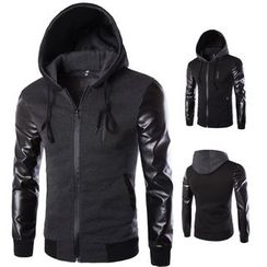 Bay Go Mall - Faux Leather Hooded Jacket