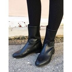 FROMBEGINNING - Faux-Leather Mid-Calf Boots