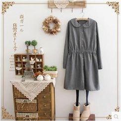 光影紀 - 細條紋娃娃領襯衫裙