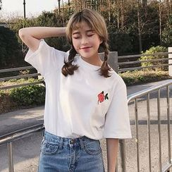 Cattie - Floral Embroidered Elbow-Sleeve T-Shirt