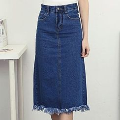 Honey House - Frayed Hem Midi Denim Skirt