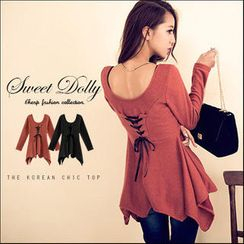 Sweet Dolly - Long-Sleeve Lace-Up Back Top
