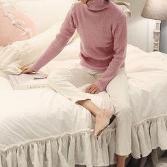 NANING9 - Turtleneck Rib-Knit Sweater