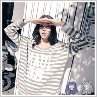 Clair Fashion - 'MAUI 35' Print Striped T-Shirt