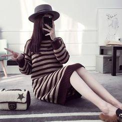 efolin - Striped Mock Neck Knit Dress