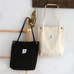 Ms Bean - Printed Applique Canvas Tote Bag