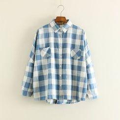 Mushi - Pocketed Plaid Shirt