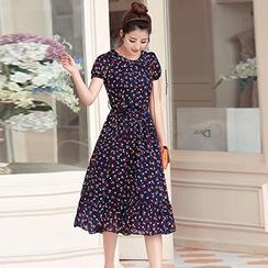 Romantica - Short-Sleeve Printed Chiffon Dress