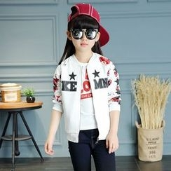 Princess House - Kids Floral Print Panel Baseball Jacket