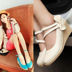 JY Shoes - Bow Accent Wedges