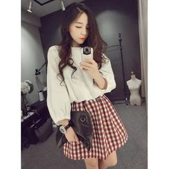 QZ Lady - Set: Dolman Sleeve Top + Checked A-Line Skirt