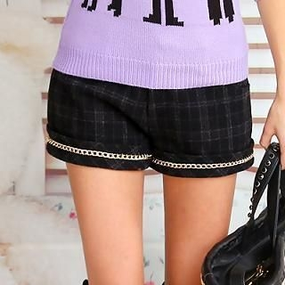 Dabuwawa - Chain-Trim Plaid Shorts